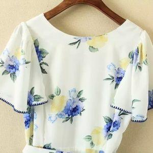 日本 中碼 春夏 白色 碎花 清雅 連身裙