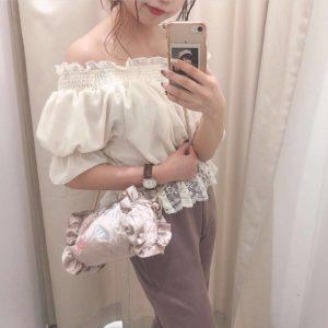 日本Nice Claup 春夏 網紗 雪紡 貝殼 刺繡 白色 粉紅色 灰色 上衣 top