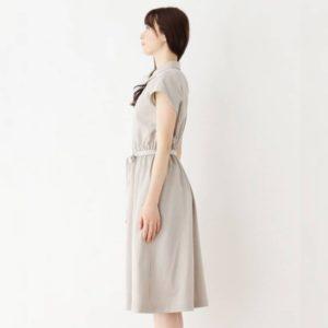 日本Index 加大碼 大碼 啡色 連身裙 仿麻感 收腰 短袖 春夏 Dress
