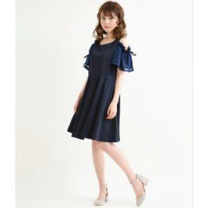 MJ福利款!!日本Majestic Legon 細碼 中碼 修身 寶藍色 春夏 lace 小飛袖 雪紡 連身裙
