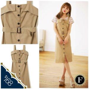 日本GRL 春夏 薄款 卡其色 外襯裙 吊帶 Dress