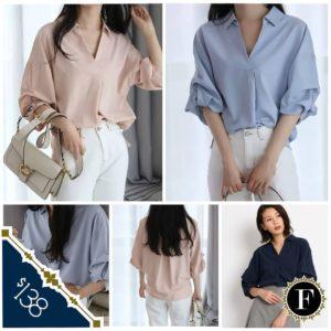 日本A.G. PLUS 粉紅 淺藍 深寶藍色 雪紡freesize 五分袖 上衣 top 恤衫