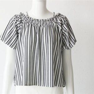 日本Virgirl 大碼 中碼 雪紡 泡泡袖 間條 一字膊 露膊 吊帶 上衣 top