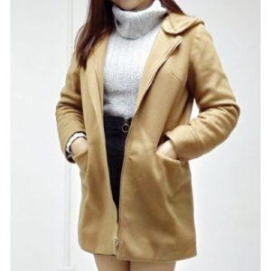 日本Aller Bien 薄款 秋冬 春裝 毛呢 外套 中褸 短褸 中碼 大碼 加大碼 卡其色 泥黃色 有袋 帽 基本款 jacket