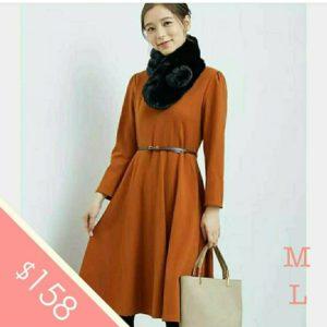 日本Rope Picnic 秋冬 長袖 修身 腰帶 連身裙 焦糖色 橙啡色 Dress