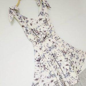日本Snidel 春夏 雪紡 吊帶 背心 細 中碼 典雅 綁帶 日式 和風 碎花 淺奶黃 連身裙 Dress
