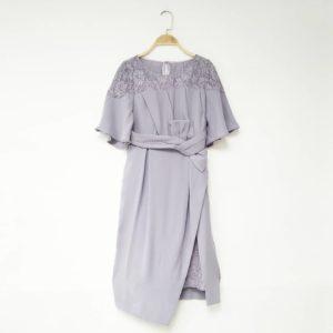 日本FnS 修腰 禮服 晚宴 宴會 綁帶 粉紫 連身裙 中長裙