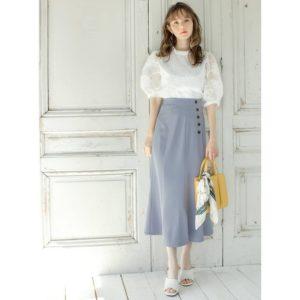 日本Grl 中碼 大碼 米白色 紫紅色 淺藍色 魚尾裙 修身 收腰 高腰 中長裙 七分裙 pencil skirt