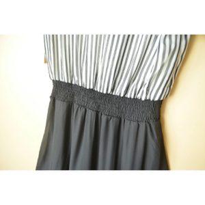 日本RyuRyu 中碼 間條 開胸 橡筋腰 連身裙 假兩件 dress