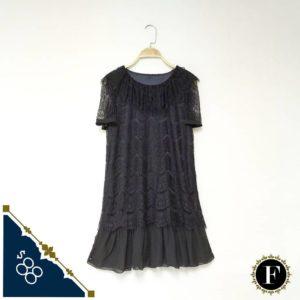 日本 Raybeams 通花 春夏 黑色 連身裙 鬆身 DRESS