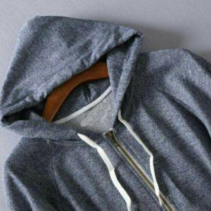 日本SagunFork 中碼 加大碼 藍灰色鬆身 蝙蝠袖 冷氣 Hoodie 外套