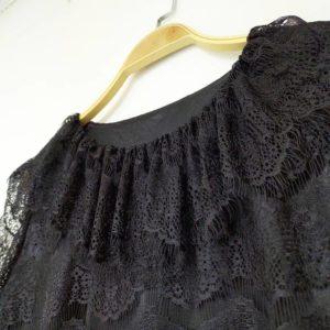 日本 Raybeams 通花 春夏 黑色 連身裙 鬆身