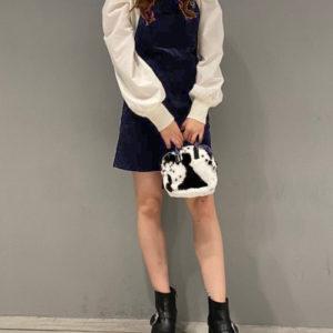 日本 retro girl 四季 純棉 兩色 工人 燈芯絨 吊帶 外襯 短裙 dress