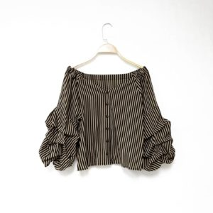 日本單 春夏 五分袖 泡泡袖 間條 上衣