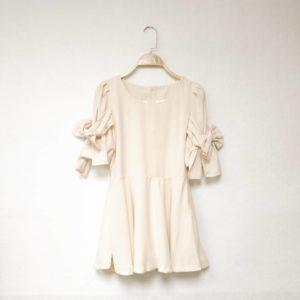 日本單 細碼 大童  蝴蝶結 雪紡 上衣