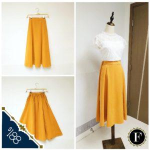 大推!日本Nougatine 中碼 (大碼) 橙黃色 七分 中長裙 Skirt