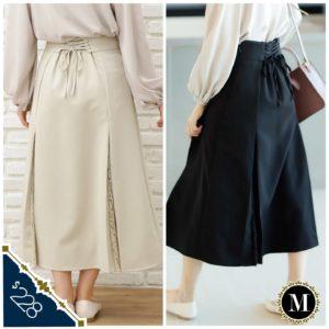 日本 INGNI 百褶 lace 四季 後綁帶 半截裙 A字裙