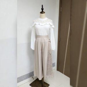 日本Cross2. Co 四季 拼色 lace橡筋腰 七分褲
