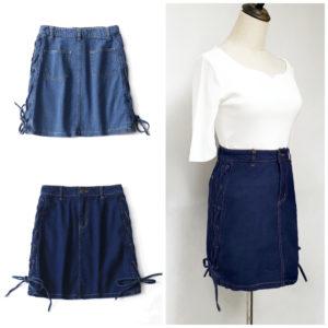 日本單 細碼 大童 綁帶 蝴蝶結 牛仔裙 skirt