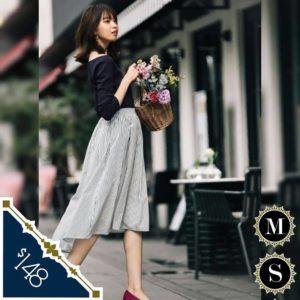 日本ViS(ビス) 春夏 間條 深藍 返工裙 魚尾裙 A字裙 半身裙 長裙 七分裙