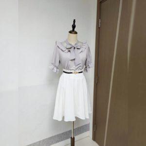 日本AS KNOWN AS PINKY 高腰 束腰 大擺 雪紡 半截裙 SKIRT