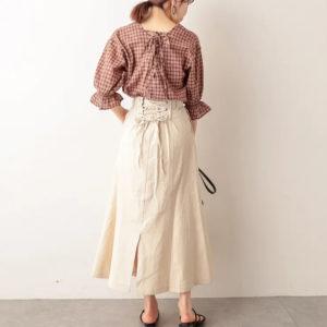 純棉!日本 NICE CLAUP 春夏 米白色 後綁帶 半截裙 長裙 九分裙