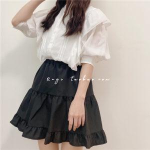 日本SUREVE 壓褶 荷葉袖 五分袖 白色 春夏 上衣 TOP