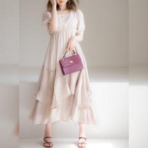 日本 GRL  春夏 花瓣 輕褶 連身裙