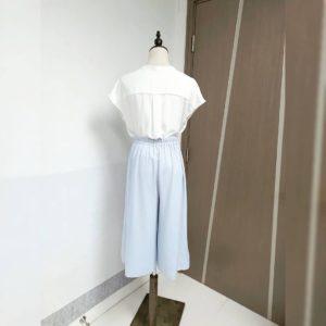 日本單 天藍色 春夏 雪紡 七分褲