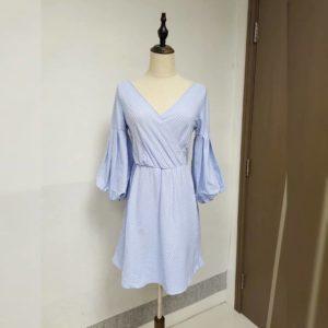 美國單 七分袖 淺藍色 間條 連身裙 Dress